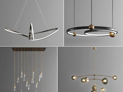 现代极简环形吊灯3d模型