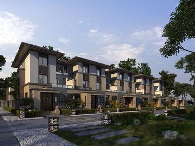 新中式联排别墅外观3d模型