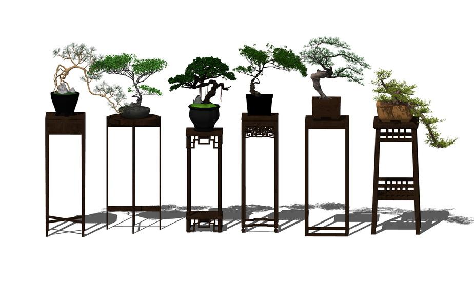 中式盆栽SU模型