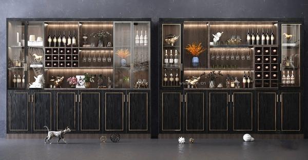 现代多功能酒柜3D模型