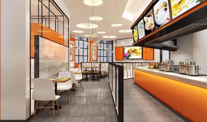 工业风餐厅 工业风餐饮空间 取餐台 餐桌椅