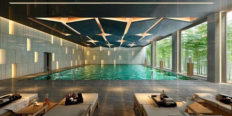 现代游泳馆 现代娱乐会所 泳池 躺椅 沙滩椅 吊顶 竹子 吊顶