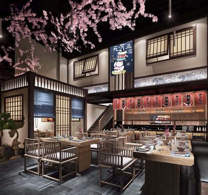 日式寿司店 新中式餐厅 日式餐厅 餐桌 餐椅 植物 包间 取餐台
