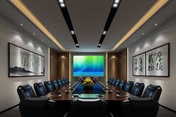 会议室 现代会议室 会议桌椅 挂画