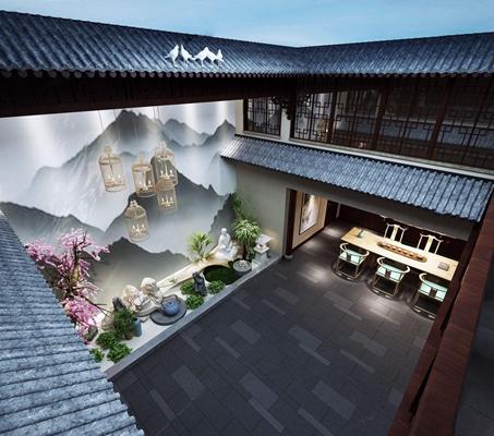 新中式中庭 新中式院子 新中式茶桌 新中式椅子 新中式鸟笼灯 桃花 植物 水