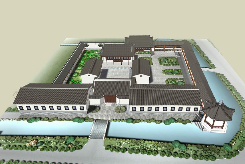 中式书院SU模型