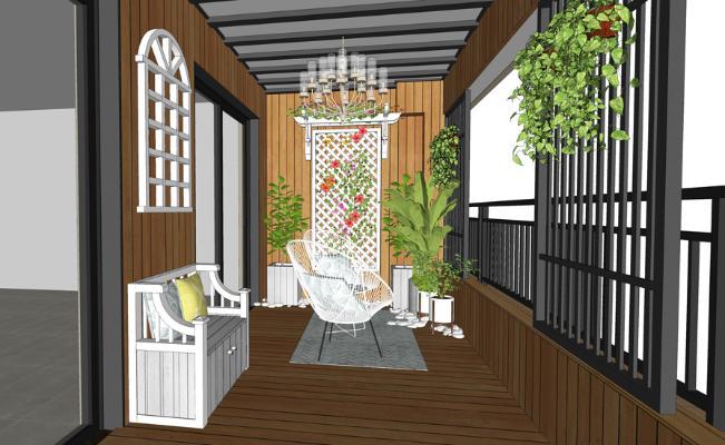 花园木阳台SU模型