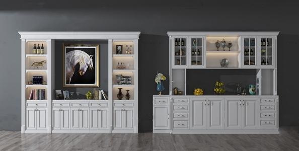 简欧实木酒柜装饰柜3d模型