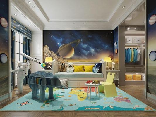 法式兒童房 法式兒童房 兒童床 個性書架 望遠鏡 邊幾 臺燈 兒童桌椅 衣柜
