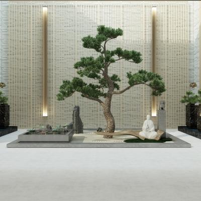 新中式荷花水池迎客�w松�M合3D模型