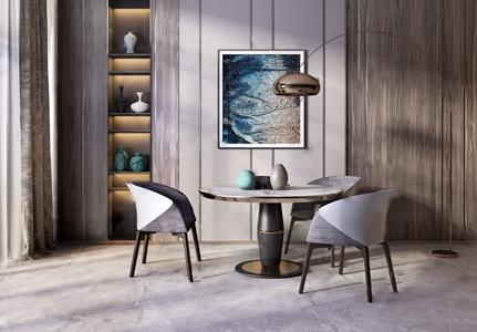 现代餐桌椅组合 现代餐桌椅 餐桌 单椅 落地灯 装饰柜 拔尖 装饰画