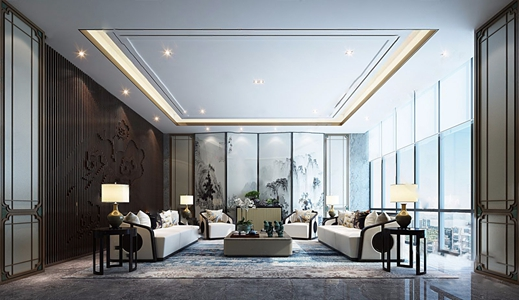 新中式贵宾接待室 新中式接待区 多人沙发 休闲沙发 茶几 边柜 屏风 角几 台灯