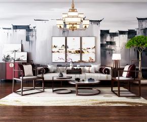 新中式沙发茶几边柜摆件组合3D模型
