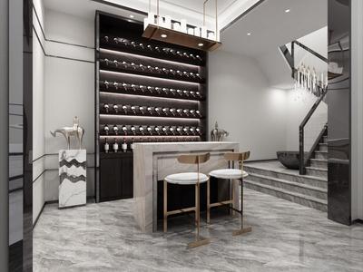 中式经典新中式地下室品酒区酒窖国外3D模型下载