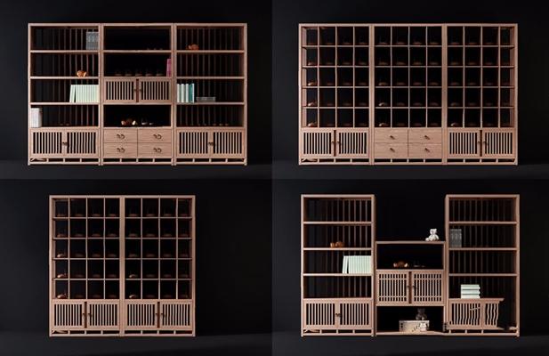 新中式装饰架组合 新中式装饰架 书架 摆件