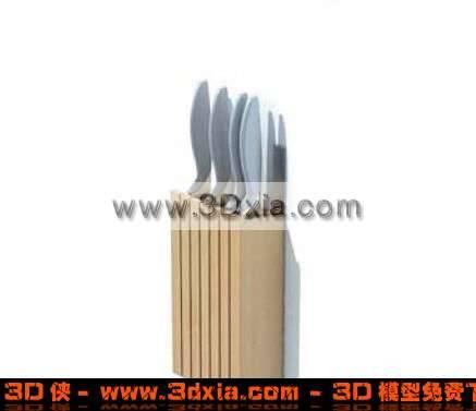 普通的壁式木质小刀3D架模型