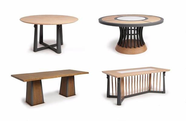 新中式实木餐桌组合 新中式餐桌 长桌子 圆桌子