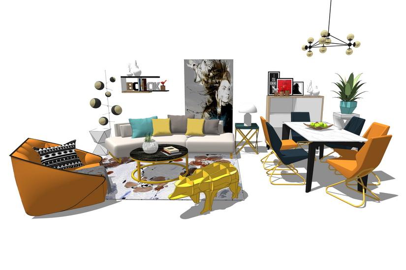 爱马仕轻奢风格客厅餐厅家具组合SU模型