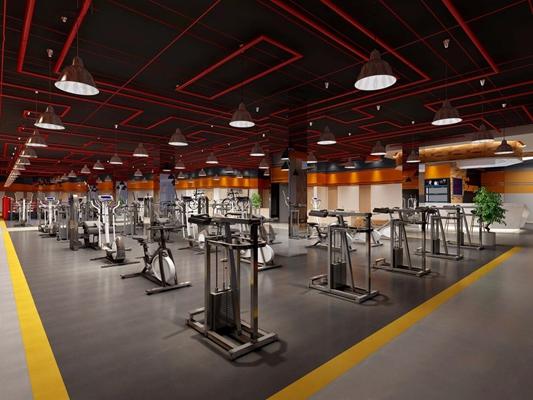 工业风健身房 工业风娱乐会所 健身器材 单头吊灯 动感单车 吊顶 吧台 吧椅 休息区