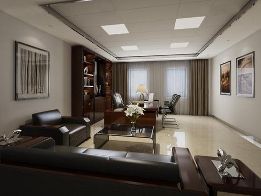经理办公室 现代办公室 桌椅 沙发 茶几 书柜 现代办公室 桌椅 沙发 茶几 书柜