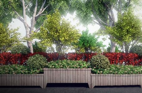 室外景观绿植组合 现代景观园林 绿植组合