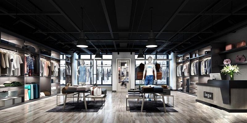 现代服装店 现代商业零售 收银台 衣服 模特 柜子 架子 皮带 鞋子 衣柜 人