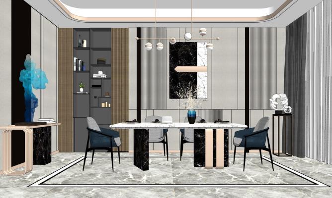 现代餐厅SU模型