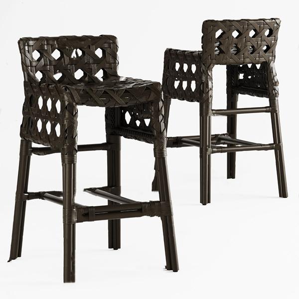 现代藤编吧台椅3d模型
