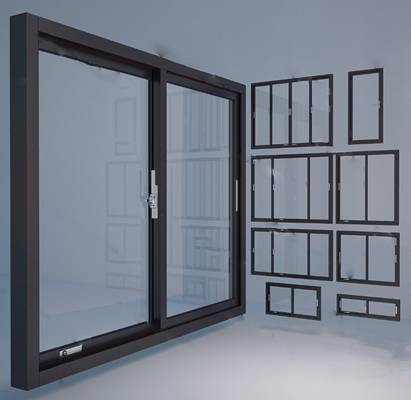 现代窗3D模型下载