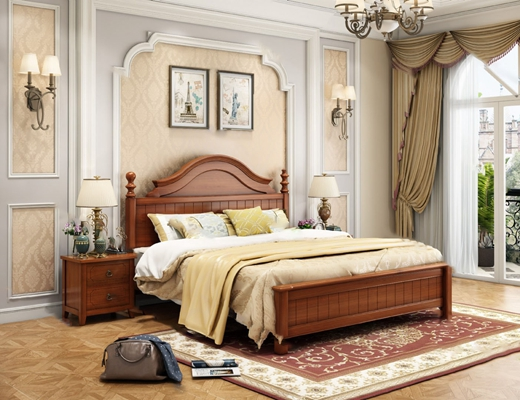 美式背景双人床3D模型