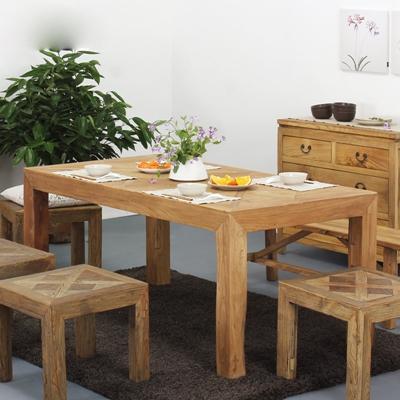 新中式原木色长方形木艺餐桌