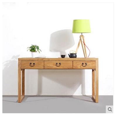 新中式原木色长方形木艺书桌