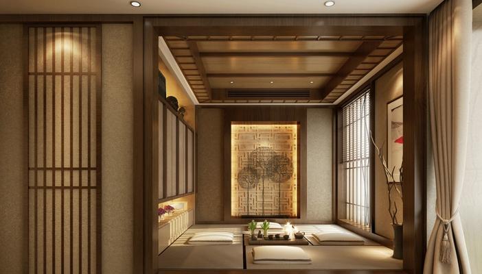 日式茶室 日式长方形木艺装饰墙