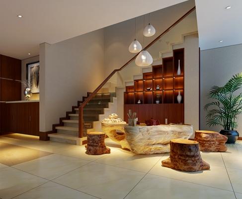 新中式茶室 新中式根雕茶海 新中式木艺装饰柜 新中式树桩式凳子
