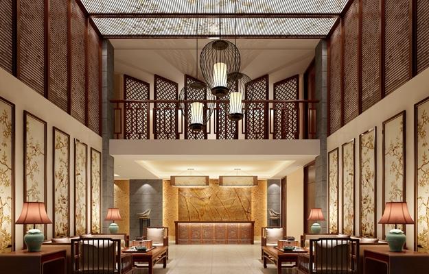 新中式酒店前台 新中式黑色铁艺吊灯 棕色长方形铁艺装饰植物画组合