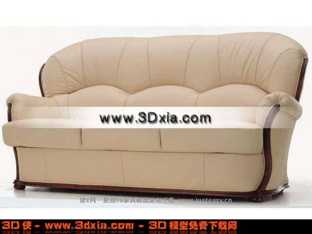 现代时尚的黄色叁人沙发3D模型下载