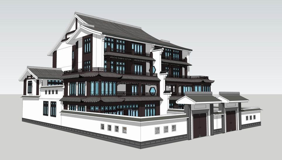 中式叠拼别墅SU模型