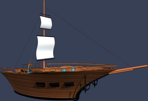 原木色古代船