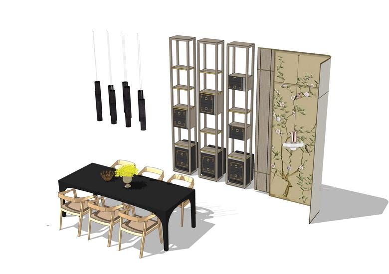 中式餐桌置物架组合SU模型