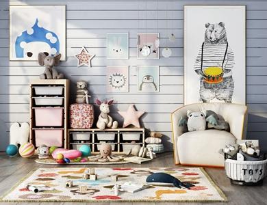 北欧儿童娱乐室组合 北欧儿童房 休闲沙发 儿童收纳柜 玩具 挂画 收纳篮 吊灯
