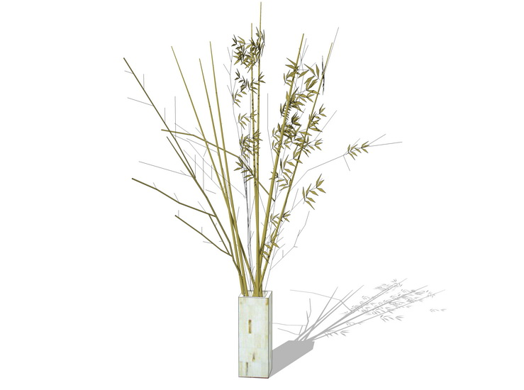 花瓶树枝摆件SU模型
