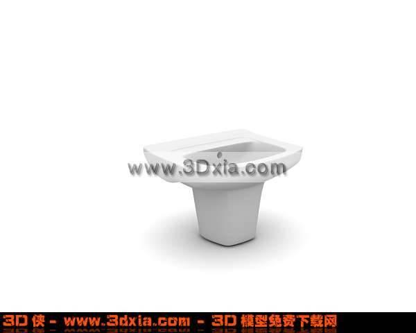 简洁的3D洗手盆模型下载