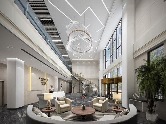 现代办公大厅接待区 现代前台接待 办公大厅 接待台 单人沙发 弧形沙发 水晶吊灯 雕塑 绿植 茶几 台灯 接待区