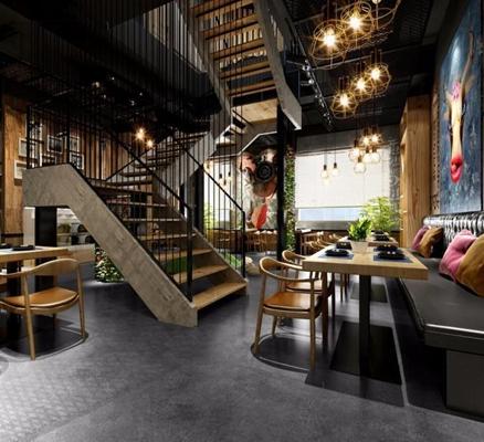 咖啡厅 咖啡厅 餐桌椅 卡座 楼梯