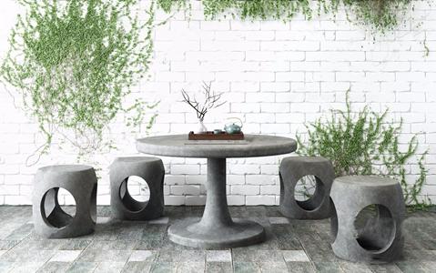 园林景观石桌石凳 新中式桌椅组合 石桌 石凳 园林景观石桌 爬墙虎 植物