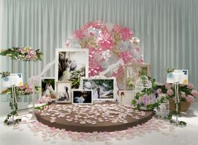 现代婚庆花艺婚纱照背景墙组合3D模型