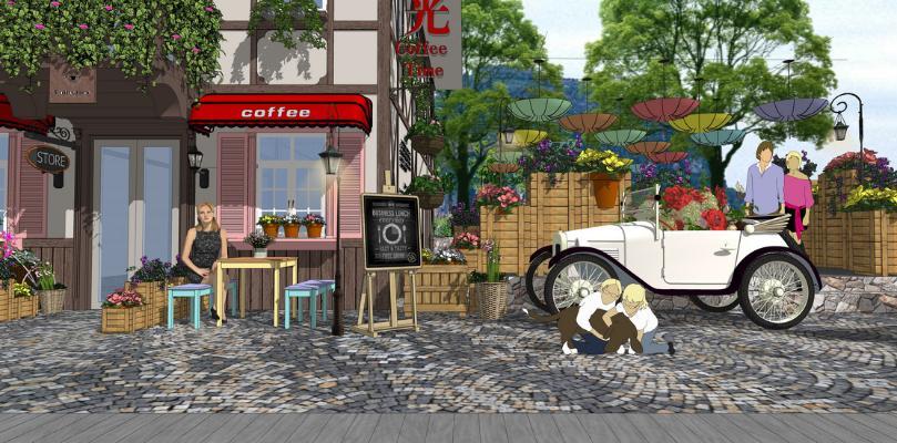 现代特色小镇休闲咖啡馆SU模型
