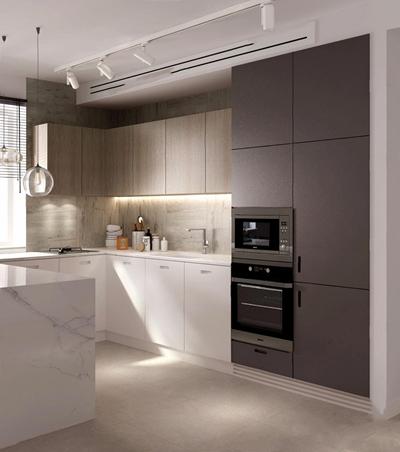北欧开放式厨房 现代厨房 橱柜 单头吊灯 厨具