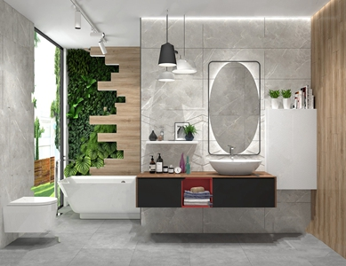 现代卫生间 现代卫浴 洗手台 浴缸 坐便器 饰品摆件 洗漱用品 镜子 绿植 吊灯 植物墙