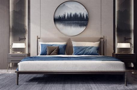 新中式双人床组合 新中式双人床 床头柜 台灯 背景墙 挂画